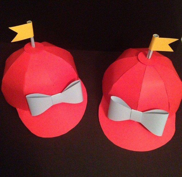 Tweedle Dee and Tweedle Dum Paper Hat Decoration - Party Favor - Alice in Wonderland - Alice in Winderland Party Decorations - Paper Hat by ShootingStarsParties on Etsy https://www.etsy.com/listing/247313250/tweedle-dee-and-tweedle-dum-paper-hat