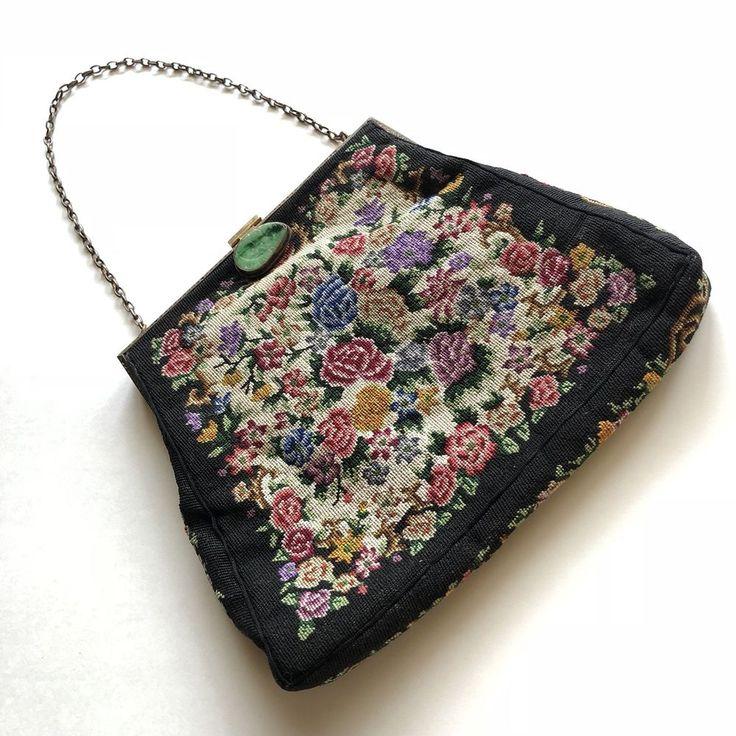 Vintage Petit Point Floral Chintz Purse Jade Jadeite Clasp Needlepoint Tapestry #EveningBag #LittleBlackDress