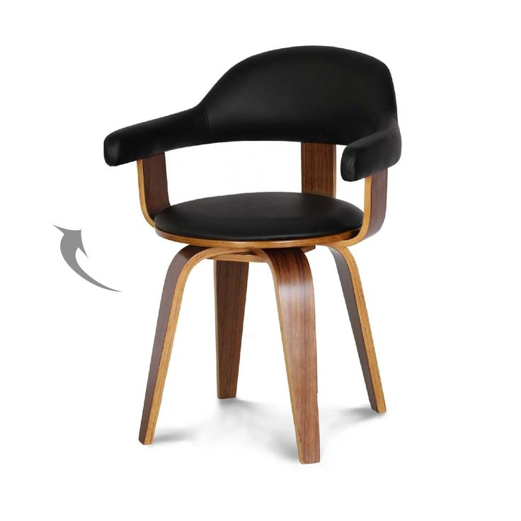 Chaise design suédoise simili-cuir noir et bois massif Walnut