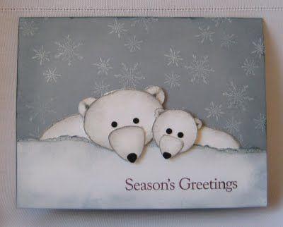 punch art polar bear mom and baby...sweet!!