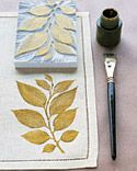 Leaf-Printed Linens - Martha Stewart Crafts    Block print