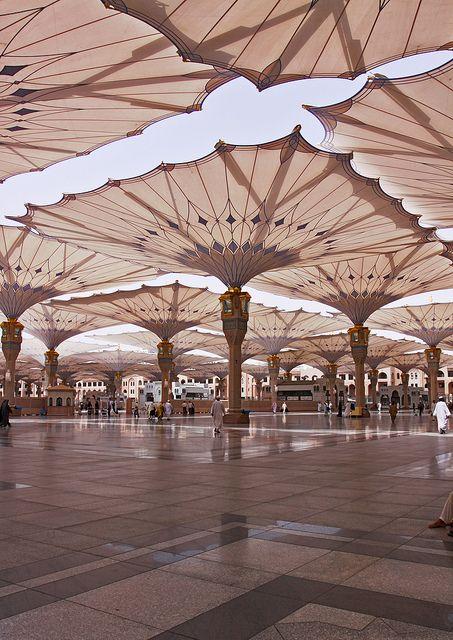 Madina Mosque Umbrellas by Frei Otto