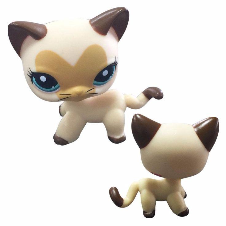 hotsale Rare Black / yellow Cat Blue Eyes Cute Kitten Littlest Pet Shop Toys Animals Kids Gift