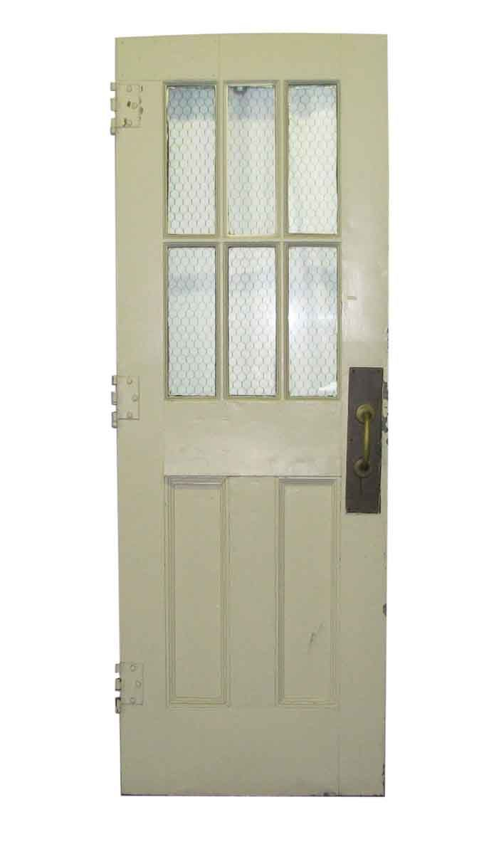 Metal Door With Eight Panels Chicken Wire Glass New House Buildings Wired Paneled Painted White On One Side And A Nice Powder Blue The Other Six Of Are