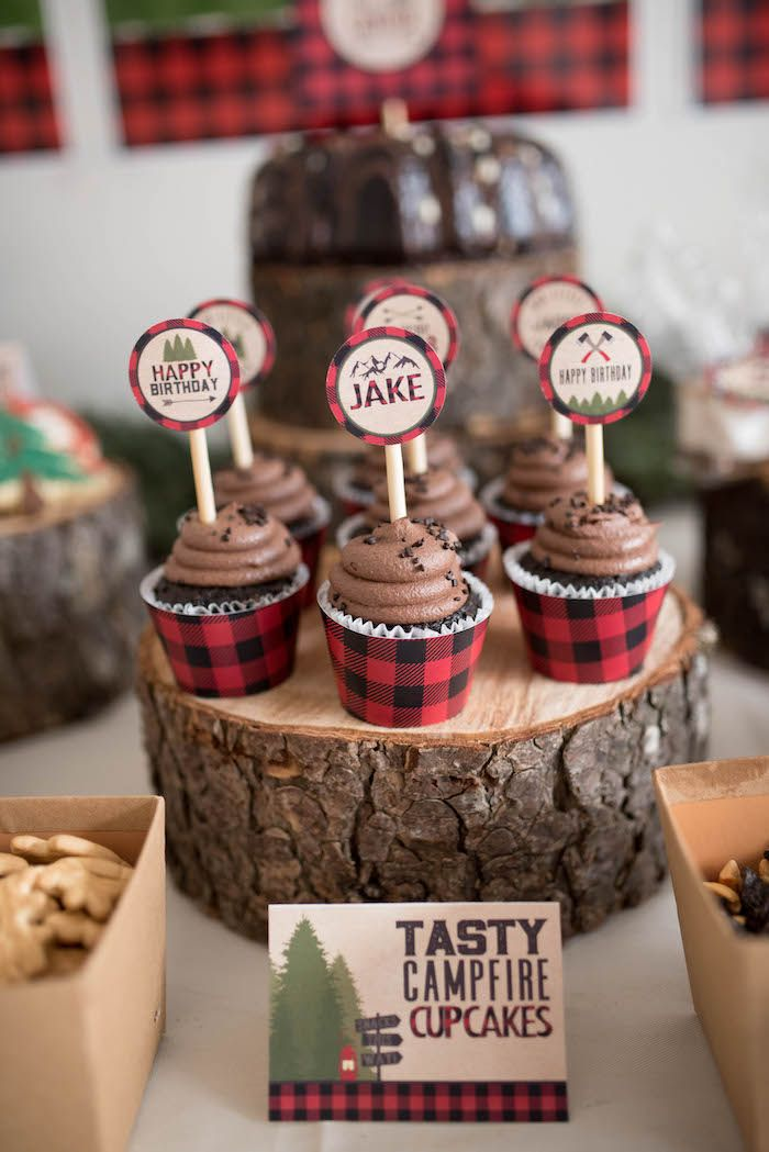 Campfire cupcakes from a Lumberjack Birthday Party on Kara's Party Ideas | KarasPartyIdeas.com (26)