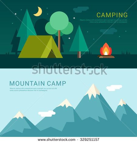 Camping and Mountain Camp. Vector Illustration in Flat Design Style for Web Banners or Promotional Materials