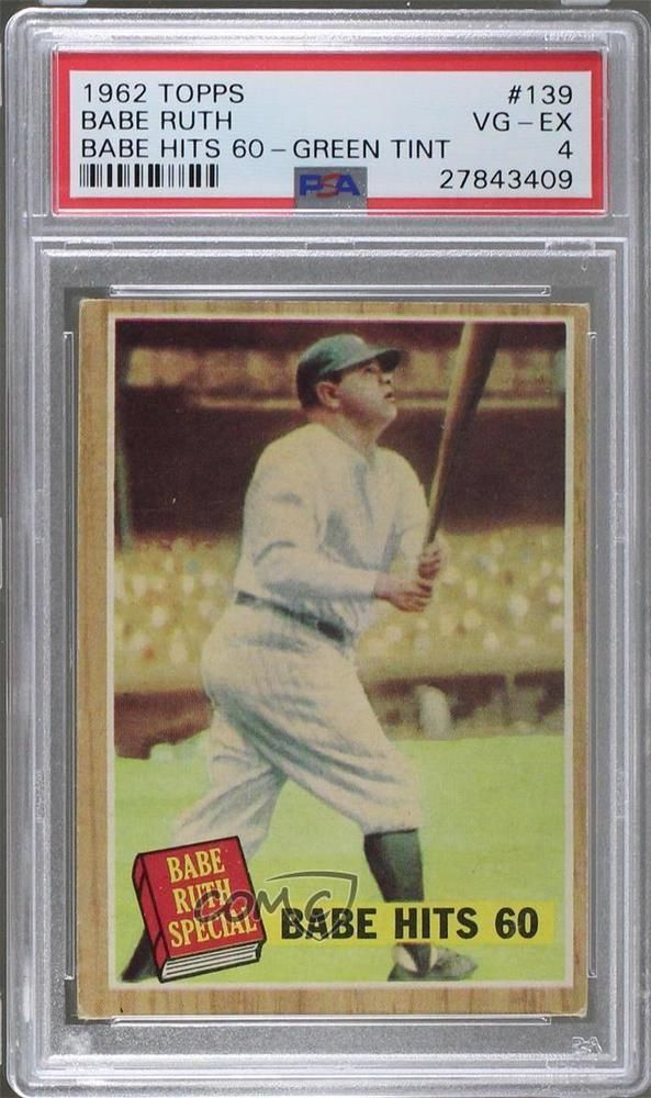 1962 Topps 139 2 Babe Hits 60 Babe Ruth Green Tint Psa 4 Vg Ex Ruth Card Babe Ruth Babe Ruth Baseball Baseball Trading Cards