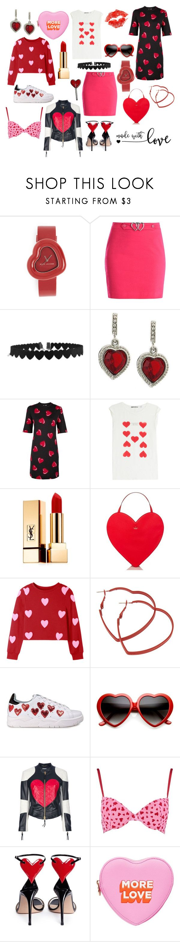 """valentine's day"" by lizzynupa ❤ liked on Polyvore featuring Marc Jacobs, Love Moschino, 1928, Pam & Gela, Yves Saint Laurent, Kate Spade, Chiara Ferragni, Moschino, Pink and red"