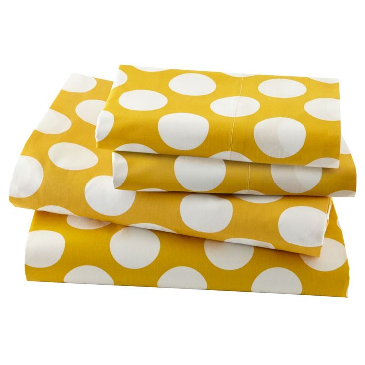 Shop New School Kids Sheet Set (Yellow w/ White Dot).  Our modern New School Sheet Sets feature white polka dots on either a grey, blue, pink or yellow background.  Made of 100% comfy cotton, they're available in twin, full and queen.