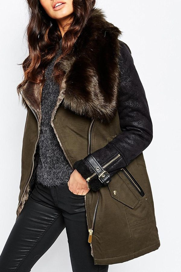 faux fur collared coat + black jeans