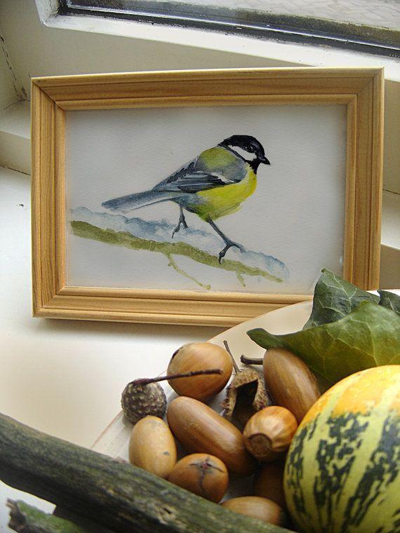 Los pájaros CHICKADEE pájaro pintura, acuarela enmarcada original Ilustración, invierno, nieve arte de la pared, decoración de la cocina.