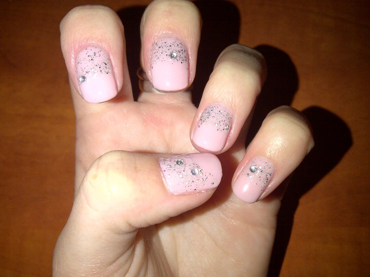 powder pink with glitter and gems