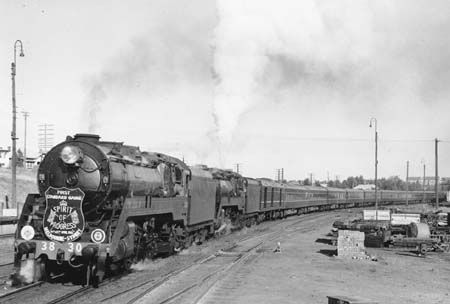 The first Spirit of Progress Melbourne – Sydney with two New South Wales C38 class Pacifics (Public Transport Commission of N.S.W.)