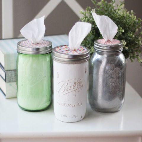 Mason jar tissue holders. 23 Handy Ways to Use Mason Jars In Your Kitchen: