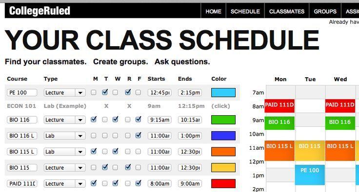Collegeruled Com Organize Time Class Schedule College