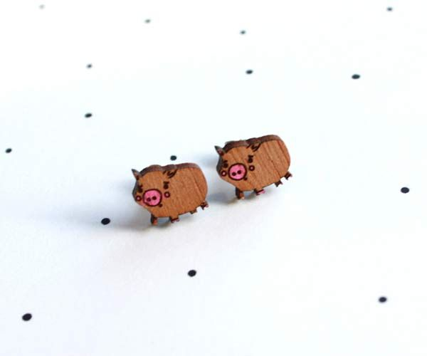 #pig #earrings by @:: so little time :: so much to see::  These little earrings are made from locally sourced wood, that is cut locally, hand painted and lovingly pieced together. All of our finding...