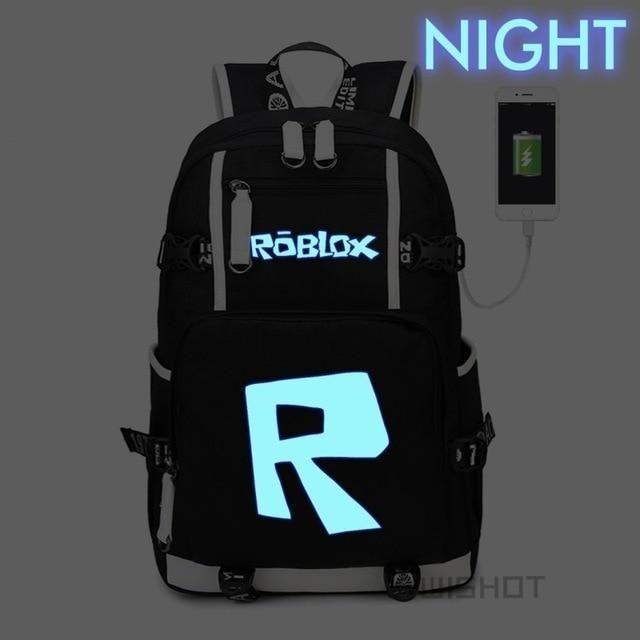 Roblox Backpack Kids School Book Bag Students Boys USB Port Handbags Travel Game