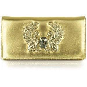 Roberto Cavalli Gold Laminated Juno Small Leather Clutch