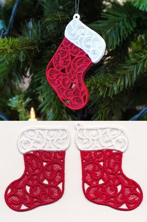 Embroider these two freestanding lace pieces on water soluble stabilizer, rinse, then assemble to make an adorable stocking ornament! Size listed is for the largest piece, stitch count listed for both pieces together.