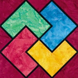 Stained Glass Card Trick Quilt Block Pattern