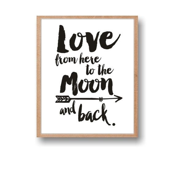 Moon Print,Moon Quote,Moon Art,Moon Wall Art,Love from here to the Moon,Instant Download,Wall decor,Tribe arrow,Home art,Printable Art,Nursery art by Paffle Design
