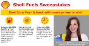 Shell Fuels Sweepstakes  Go To: www.giveit2me.biz to enroll