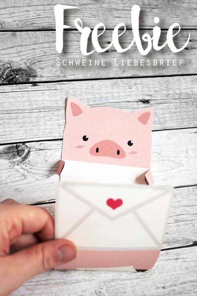 Freebie Schweinchen Liebesbrief Geschenke Selber Basteln