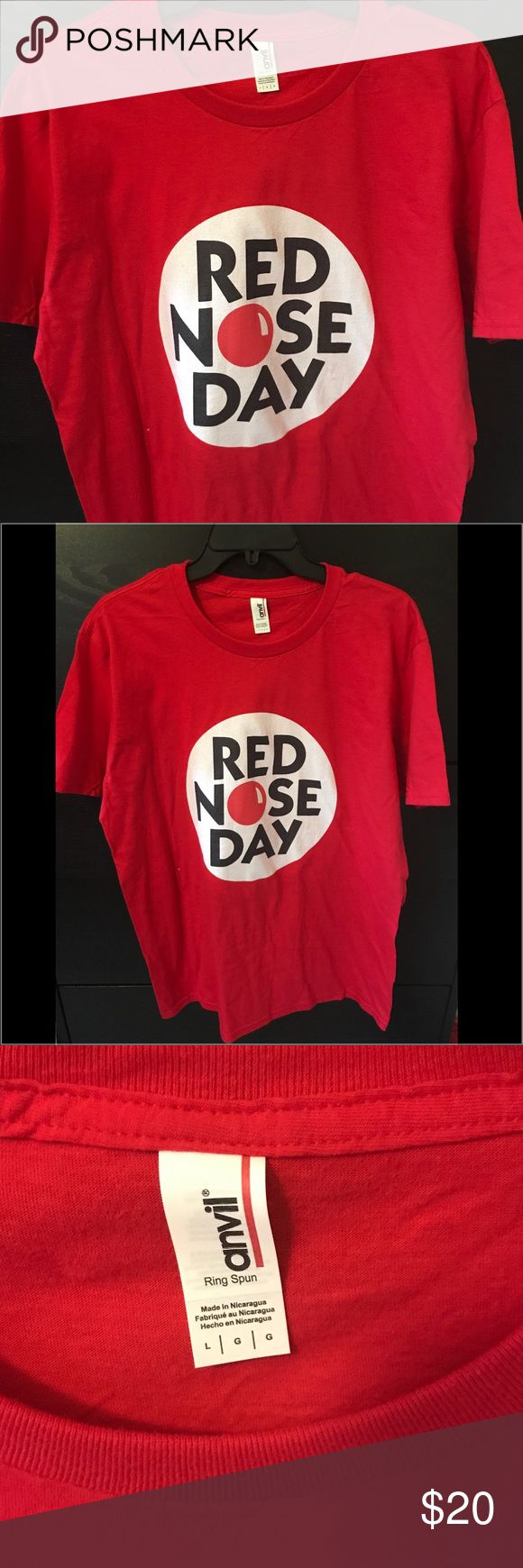 Red Nose Day Tee Red Nose Day Unisex Tee; Size Large; Red Nose Day 2017 in the USA is May 25 Tops