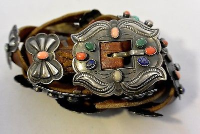 7-5-ozt-69-Stones-HARRY-MORGAN-signed-Navajo-CONCHO-BELT-buckle-Sterling-Silver