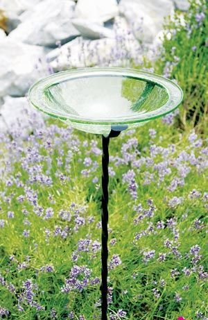 Think I need two of these in my flower bed.   Achla Fern Green Crackle Glass Bird Bath, Decorative Crackle Glass Birdbaths at Songbird Garden