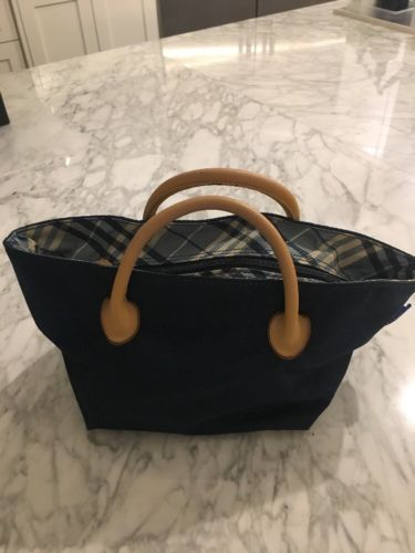 7cd373d8dfed Auth BURBERRY BLUE LABEL Nylon Canvas Baby blue Tote Bag Small Tote ...