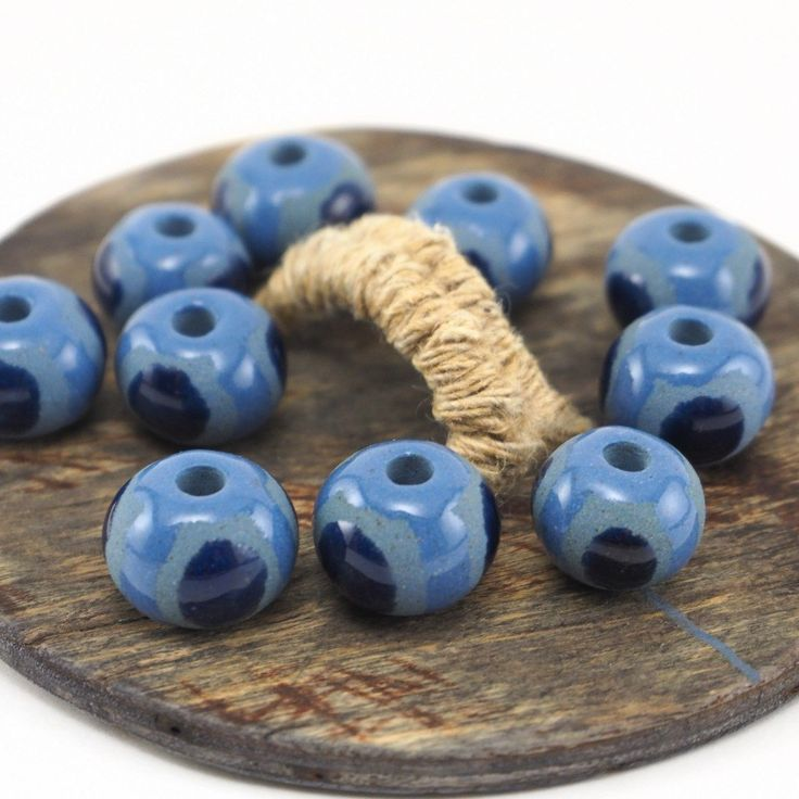 Pretty nautical ⚓ beads  #etsy #etsystudio #nautical #beads #ceramics #pottery #handmade #jewelrymaking #pottery