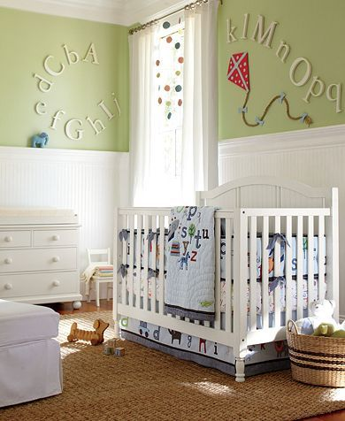 ABC Nursery | Pottery Barn Kids // every time pb kids comes out with another alphabet bedding my heart breaks a little more. i want to buy it all & pack it away!!