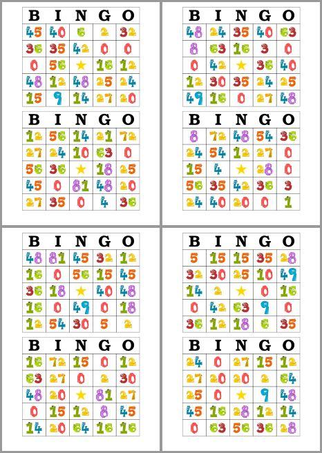 Tarjetas De Bingo Para Imprimir Y Estudiar Las Tablas De Multiplicar