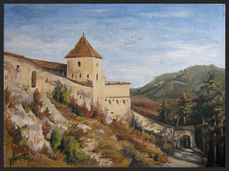 Rasnov citadel, oil painting