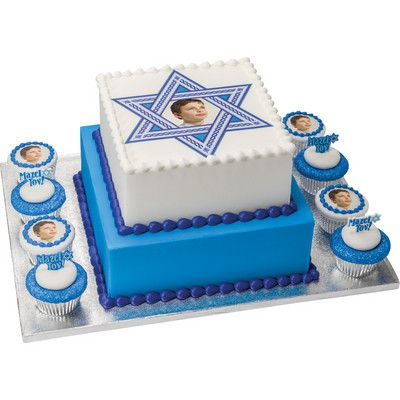 Bar Mitzvah Square Stacked Cake with Cupcakes