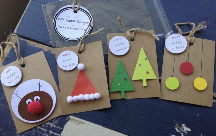 Pack of 4 Handmade Christmas Gift Tags