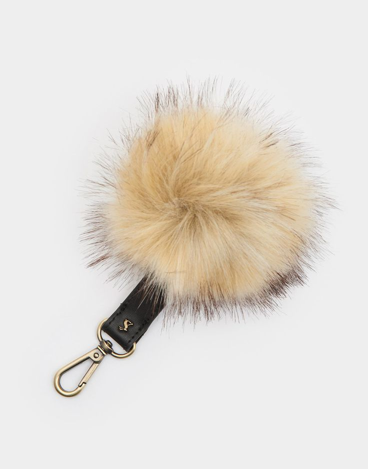 Keypom Natural Keyring , Size One Size   Joules US.  Pom Pom snaps off and can be attached to a hand knit hat!