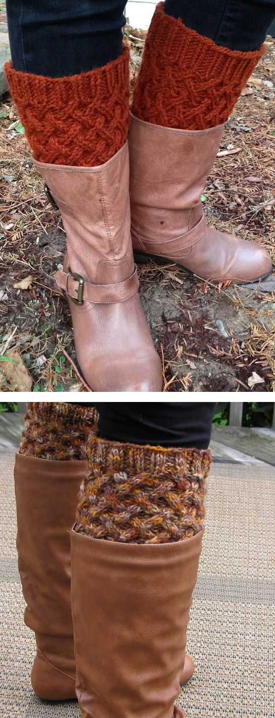 Free Knitting Pattern for Cabled Boot Toppers - These boot cuffs feature an all-over cable pattern framed by ribbing for easy fit. Designed by Anna Templer. Pictured projects by Witchyvet and ajl7053