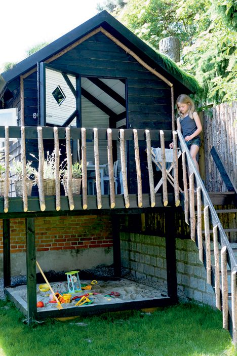 sticks railing & sandbox under the playhouse. now just need to add a couple of swings!