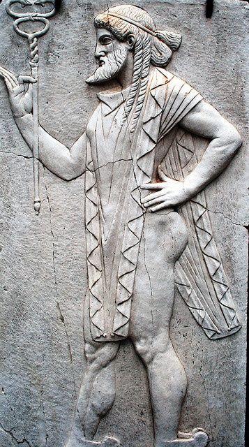 Herculaneum, Italy - Sacello di Venere. A carving in the Sacello di Venere temple.