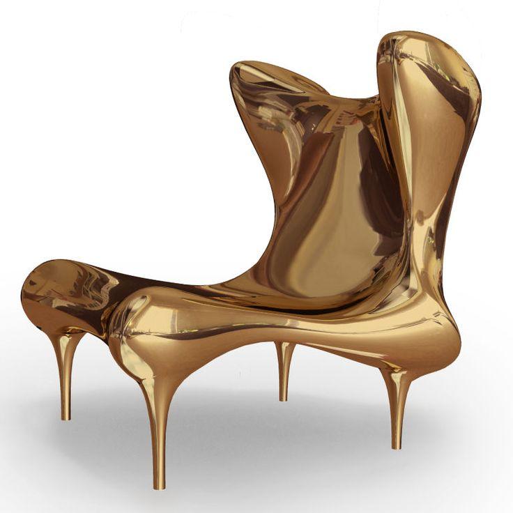 Riemann Chair In Mirror Polished Gilt Bronze