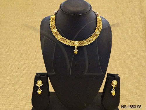 NS-1880-95 | CHOTI STYLE DOUBLE LAYERED ANTIQUE NECKLACE SET