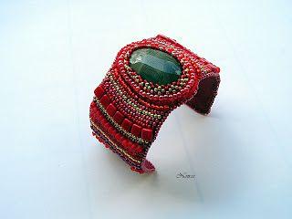 koralikowe fantazje Noiree: Bransoletka Fingerprint striped flint with Toho beads and Tila #bracelet #embroidery #beads #striped flint