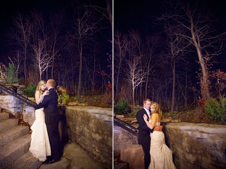 Ancaster Mill bride and groom at night