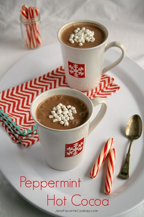 Peppermint Hot Cocoa from Jen's Favorite Cookies - made in the slow cooker, so it's ready when you are.
