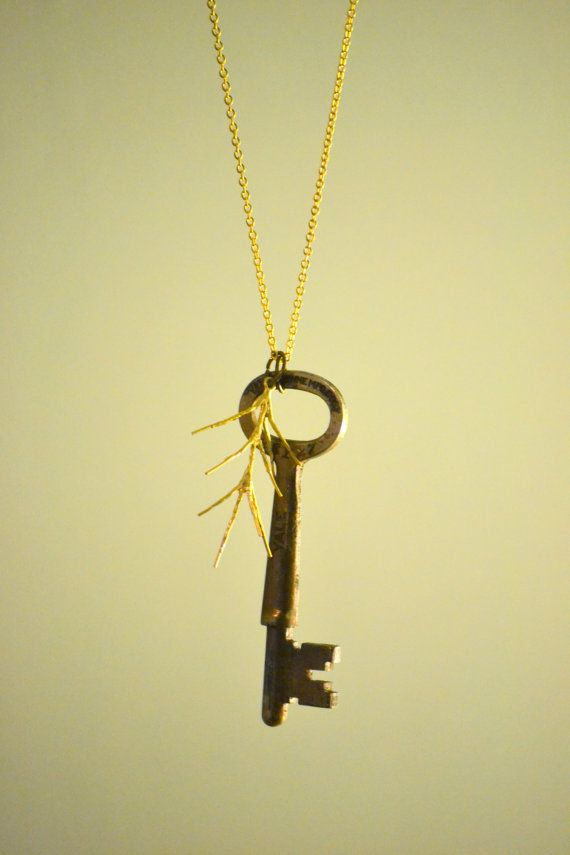 Long Antique Key & Twig Necklace by Bohgeo on Etsy, $26.00