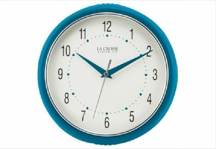 La Crosse Technology 9.5 Inch Round Teal Wall Clock Dome Glass Metal Hands #LaCrosseTechnology #Analog
