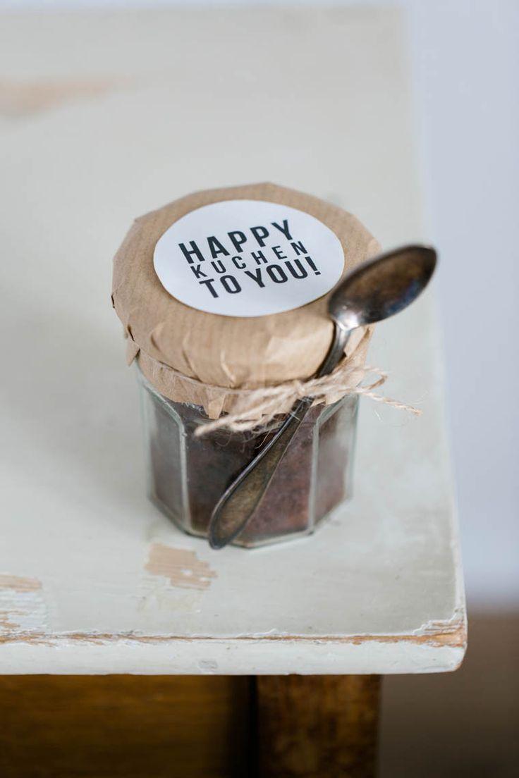 Schoko-Nuss-Kuchen im Glas + Etikett zum herunterladen