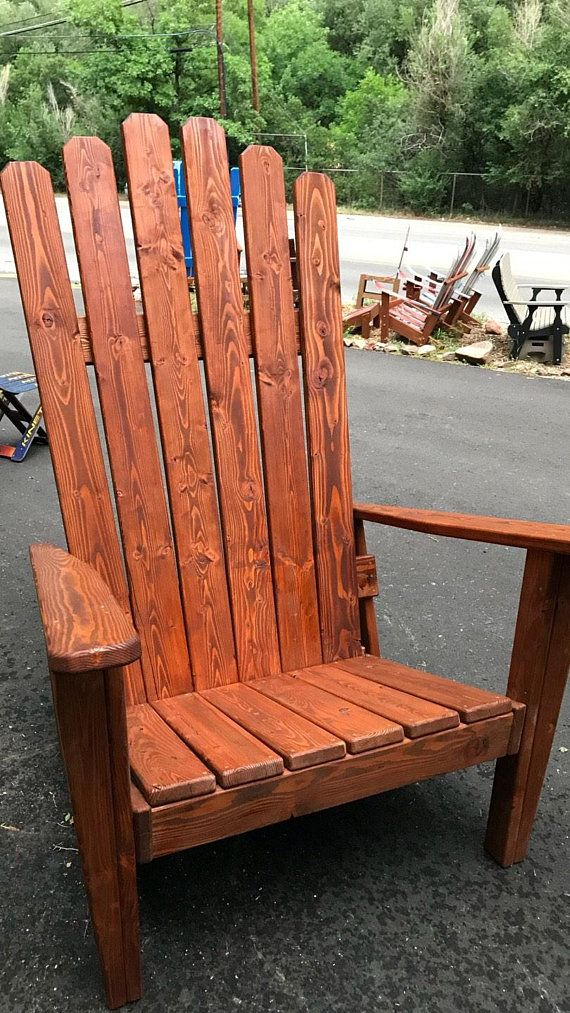 Peachy Custom Redwood Stained Adirondack Chair Oversized Chair Ncnpc Chair Design For Home Ncnpcorg